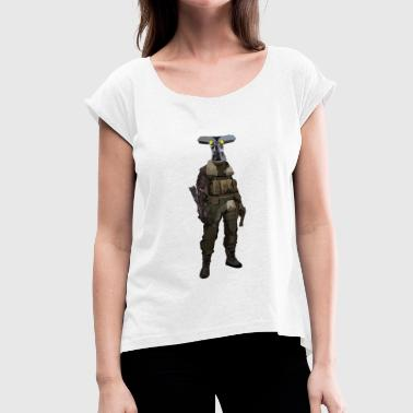 I Spy Spy with robot arm and army jacket - Women's T-Shirt with rolled up sleeves