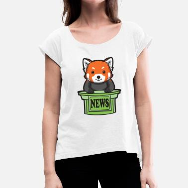 Anchorman Red Panda News Presenter - Women's T-Shirt with rolled up sleeves