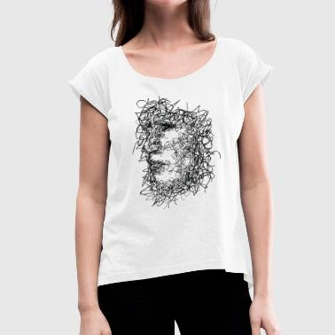 Face Scribbling - Women's T-Shirt with rolled up sleeves