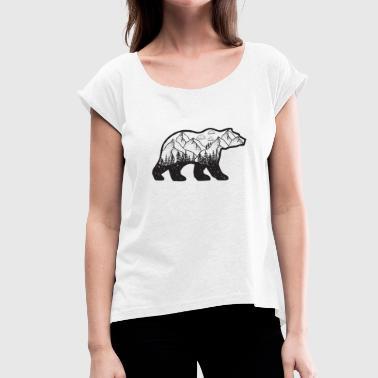 Wanderlust Bear Black - Women's T-Shirt with rolled up sleeves