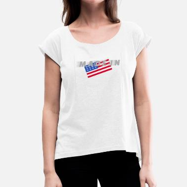 Made In Usa Made In USA - Camiseta con manga enrollada mujer
