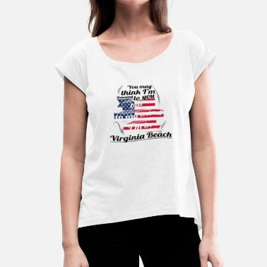 Virginia Beach THERAPY HOLIDAY AMERICA USA TRAVEL Virginia Beach - Women's T-Shirt with rolled up sleeves