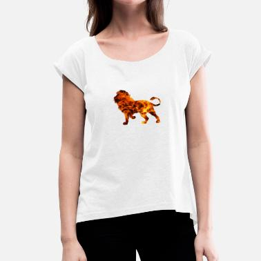 Lion & Fire - Women's T-Shirt with rolled up sleeves