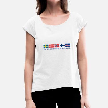 Scandinavia United Colors Of Scandinavia | Scandinavia flag - Women's T-Shirt with rolled up sleeves