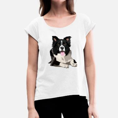Border Collie BORDER COLLIE by NYA - Maglietta da donna con risvolti