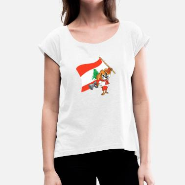 Lebanese Lebanon fan dog - Women's T-Shirt with rolled up sleeves