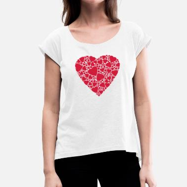 Love With Heart Heart of hearts Love in love Gift - Women's T-Shirt with rolled up sleeves