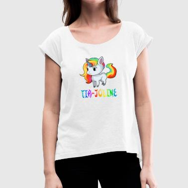 Tia-Joline unicorn - Women's T-Shirt with rolled up sleeves