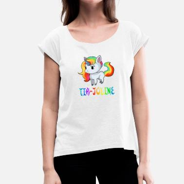 Tia Tia-Joline unicorn - Women's T-Shirt with rolled up sleeves