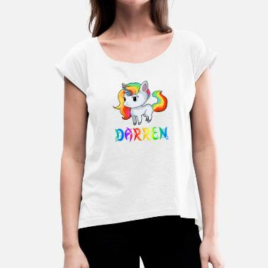 Darrens Gift Unicorn Darren - Women's T-Shirt with rolled up sleeves