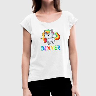 Denver Broncos Unicorn Denver - Women's T-Shirt with rolled up sleeves