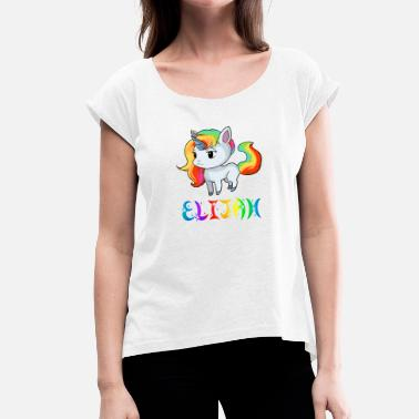 Elijah Unicorn Elijah - Women's T-Shirt with rolled up sleeves