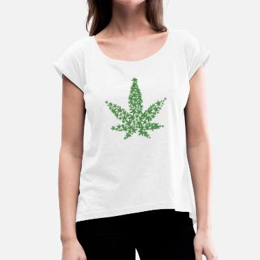 Weed Leaf WEED LEAF - Women's T-Shirt with rolled up sleeves