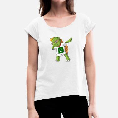 Pakistan Kids Pakistan Dabbing turtle - Women's T-Shirt with rolled up sleeves