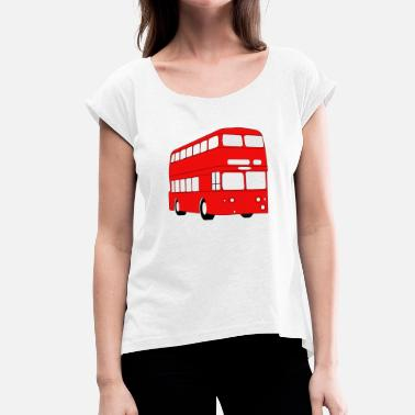 School Bus school bus coach omnibus school bus verkehr2 - Women's T-Shirt with rolled up sleeves