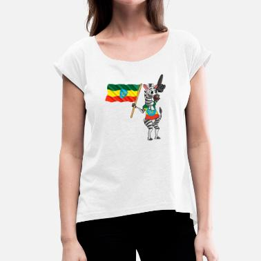 Ethiopian Ethiopian zebra - Women's T-Shirt with rolled up sleeves