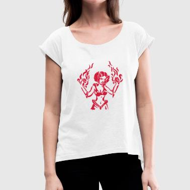 Pyromaniac Girl power mage with flames spell RPG fantasy - Women's T-Shirt with rolled up sleeves