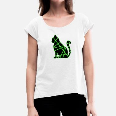 Chat Green-Black - Women's T-Shirt with rolled up sleeves