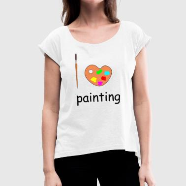 painting - Women's T-Shirt with rolled up sleeves