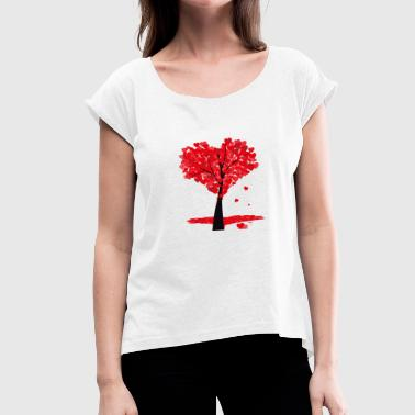 Tree in heart shape - Women's T-Shirt with rolled up sleeves