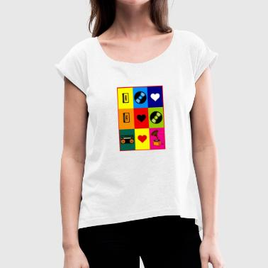 Video Recorder Video Cassette Record Retro 80s 90s Gift - Women's T-Shirt with rolled up sleeves