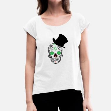 Cylinder Skull cylinder - Skull cylinder - Women's T-Shirt with rolled up sleeves