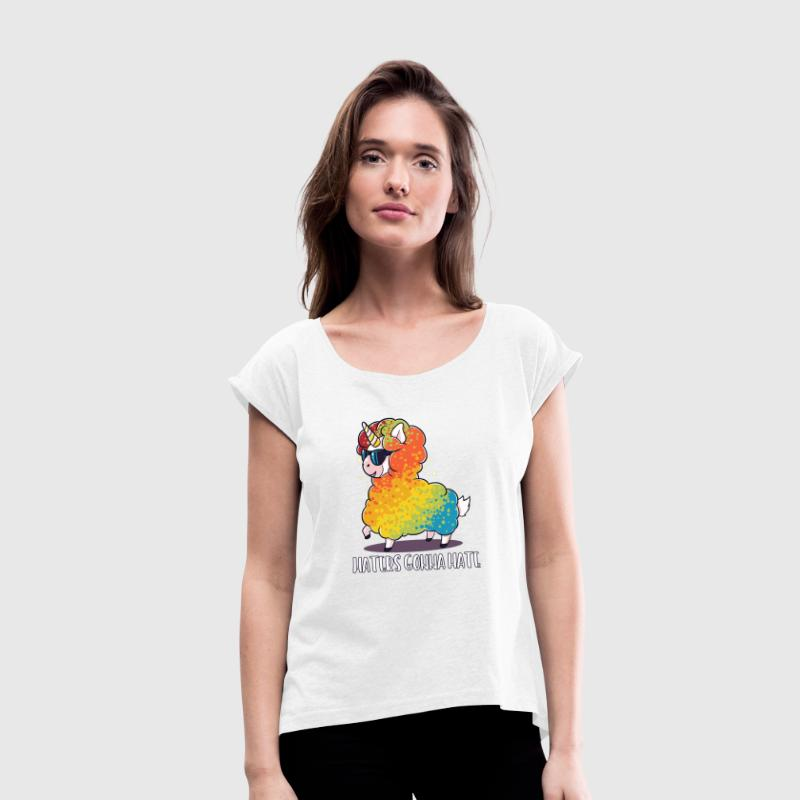 Lama sheep unicorn funny birthday gift - Women's T-Shirt with rolled up sleeves
