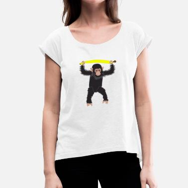 Chimpanzee Chimpanzee bananas weightlifting - Women's T-Shirt with rolled up sleeves