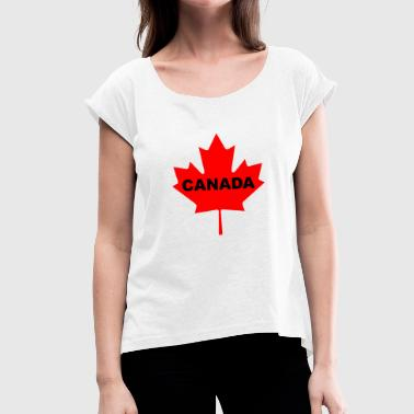 Reds Canada Flag Canada Maple Leaf - Women's T-Shirt with rolled up sleeves