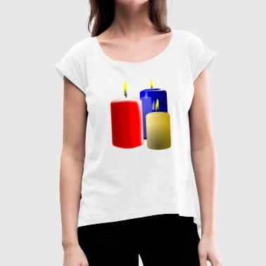 Candle candles - Women's T-Shirt with rolled up sleeves