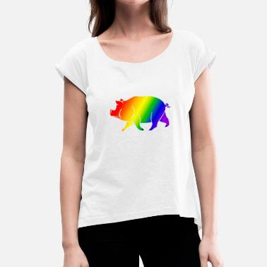 Gay Pig pig rainbow - Women's T-Shirt with rolled up sleeves