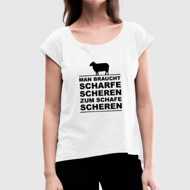 Shearing Sheep - sharp shears - Women's T-Shirt with rolled up sleeves