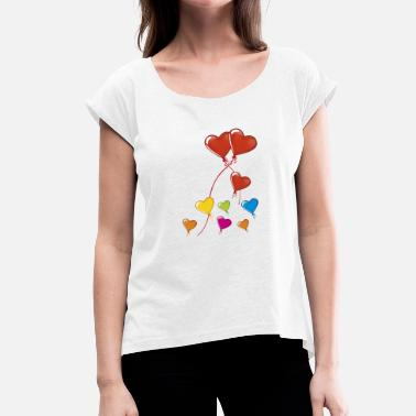 Heart Balloon hearts balloons - Women's T-Shirt with rolled up sleeves