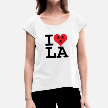 I Love La I love LA! black with ribbons - Women's T-Shirt with rolled up sleeves