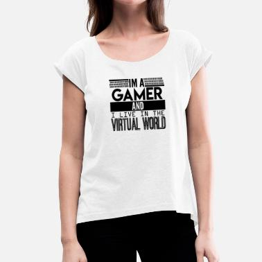 Virtual Online gambler I Virtual world - T-shirt med upprullade ärmar dam
