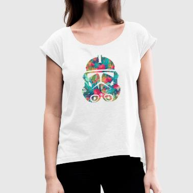 The Flower Trooper - Women's T-Shirt with rolled up sleeves