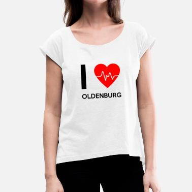 Oldenburg I Love Oldenburg - Jeg elsker Oldenburg - T-skjorte med rulleermer for kvinner