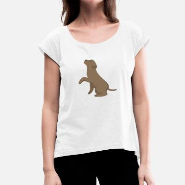 Shyness Labrador Give Paw Chocolate Brown - Women's T-Shirt with rolled up sleeves