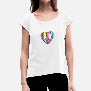 John Lennon Peacefull Heart - Women's T-Shirt with rolled up sleeves