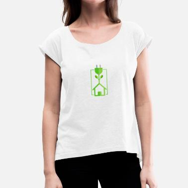 Activista Antinuclear Green Electricity Green Power contra Atomic Gift - Camiseta con manga enrollada mujer