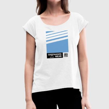 Unisex Stripes Pantone Trend S / S 18 Boy Blue - Women's T-Shirt with rolled up sleeves