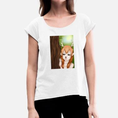 Tank Girl Mens Tank: Deer-girl design by Tina Ditte - Women's T-Shirt with rolled up sleeves