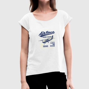 Air Force Air Force Squad Crew - Dame T-shirt med rulleærmer