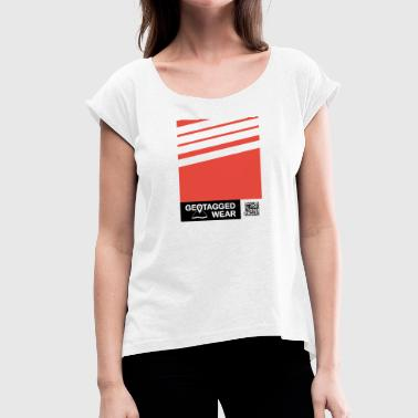Unisex Stripes Pantone Trend S / S 18 Cherry Tomato - Women's T-Shirt with rolled up sleeves