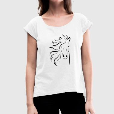 horse silhouette - Women's T-Shirt with rolled up sleeves