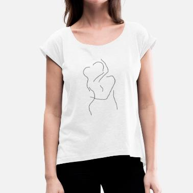 Couple Kiss Kissing couple - Women's T-Shirt with rolled up sleeves