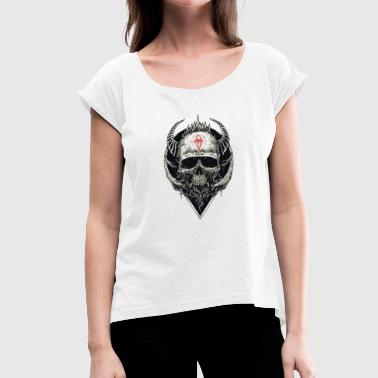 Skull with red symbol - Women's T-Shirt with rolled up sleeves
