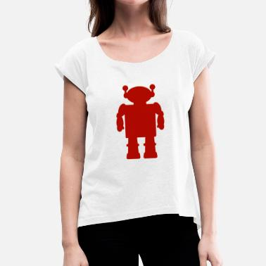 Red Helicopter robot - Women's T-Shirt with rolled up sleeves