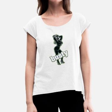Busty busty woman black - Women's T-Shirt with rolled up sleeves