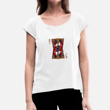 The Queen Is Dead Skull Queen Card T-Shirt Skeleton Dead Playcard - Women's T-Shirt with rolled up sleeves